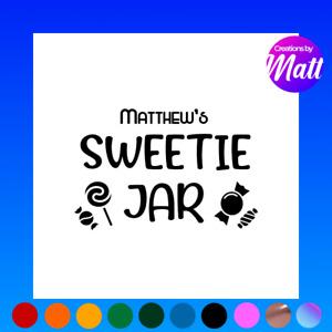 Personalised Sticker Label Sweet Sweetie Treats Jar Tin Kids Dad Mum Gift Gamer