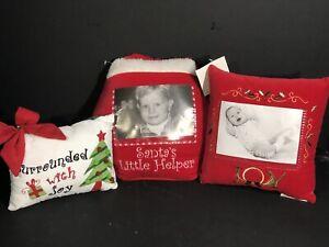 Red White Christmas Pillows Set Of 3 Square Octagon Rectangular 3 SZS New Velvet