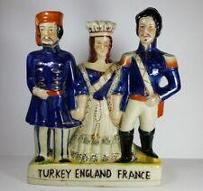 """LARGE VINTAGE STAFFORDSHIRE FLATBACK GROUP FIGURINE TURKEY ENGLAND FRANCE 11.5"""""""