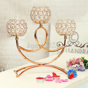 Elegant Tea Light Crystal Candle Holders Candlestick Wedding Table Decor