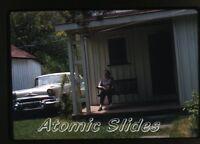1958 kodachrome photo slide   lady on Porch  Car