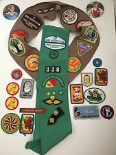 Huge Lot of Vintage 1980's Girl Scouts Sashes Sash Patches Badges Pins