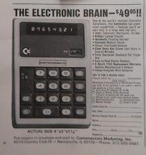 1973 Print Ad Commodore Calculator ~ The Electronic Brain