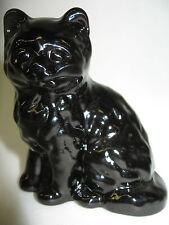 Black amethyst glass Cat Kitten paperweight kitty art purple figurine halloween