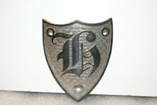 NOS 1920's-1930's Monogram Full Size Metal Motometer Cap Shield Letter H Silver