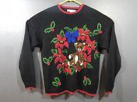 Vintage Black Ugly Christmas Sweater Medium Teddy Bear Poinsettia