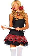 Ladies Sexy School Girl 3pc Tartan Fancy Dress Kit Role Play With Crop Whip