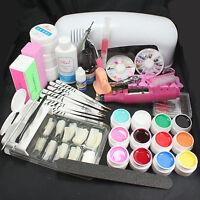Pro Nail Art 9W UV Gel Lamp Brush Nail Tips Kits Tool & Electric File Drill