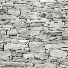 Light Grey Stone Wallpaper Realistic 3D Effect Natural Wall Design 1283