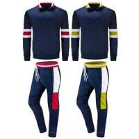 New Men Track Set Hip Hop Striped Top & Bottom Zipper Ankle Red Yellow Black