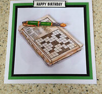 "Handmade Happy Birthday 3D decoupage crossword puzzle card unusual  6"" x 6"""