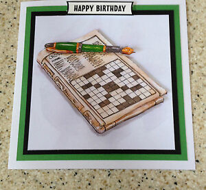 "Handmade Happy Birthday 3D decoupage crossword puzzle card unusual  6"" x 6"""