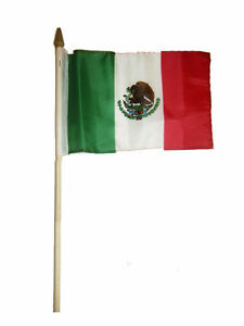 """Wholesale Lot of 12 6x9 6""""x9"""" Mexico Mexican Stick Flag wood Staff"""