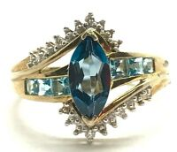 Sterling Silver Gold Tone London Blue Topaz - Aquamarine CZ Accent Cocktail Ring
