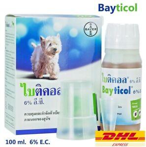 100 ml Bayer Bayticol 6% EC. F100Dog Remove Flea Treatment Control Tick Remedies