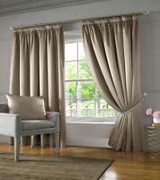 "1 Pair Of BURJ Luxury Interlined Silk Look 3"" Pencil Pleat Header Lined Curtains"