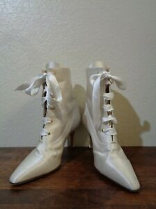 VANESSA NOEL IVORY SATIN LACED POINTED TOE COVERED HIGH HEEL BRIDAL ANKLE BOOTS