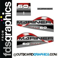 Mariner 60hp lightning two stroke outboard engine decals/sticker kit