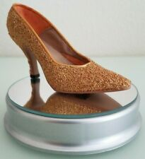 """Vintage Just The Right Shoe by Raine 1999 Qvc """"Golder Stiletto"""" #25045 Gold"""