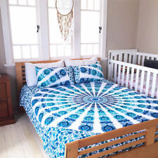 Indian Peacock Mandala Cotton Bed Cover Queen Size Bed Sheet With 2 Pillow Cover