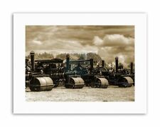 STEAM ROLLERS SEPIA MOUNT Picture Vintage Canvas art Prints