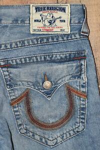 Mens True Religion Straight Medium Wash Denim Jeans Made In USA 34x33 EUC B60