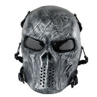 Airsoft Paintball Tactical Full Face Mask Combat Skull Game Protect Ghost Sliver