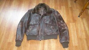 Vintage  Leathers USA G1 Style Flight Jacket Brown Leather 44 Men