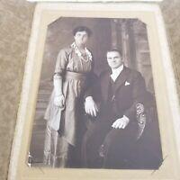 Vintage PHOTOGRAPH Husband & Wife PORTRAIT Late 1920's Webster Ma.