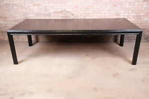 Hollywood Regency Chinoiserie Faux Bamboo Black Lacquered Extension Dining Table