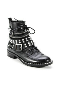 DV Dolce Vita Womens Studded Lace Up Combat Boots Black Silver Size 8