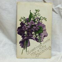 Vtg Postcard Embossed Violet Floral Motif Greeting Unused