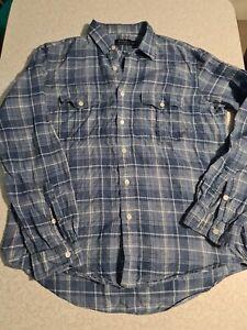Polo Ralph Lauren 100% Linen Blue Plaid Shirt, like new Sz L  122CMS CHEST