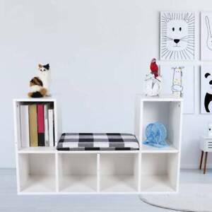 6 Cube Bookcase Wooden File Organiser Bookshelf Storage Shelf Display Stand Seat