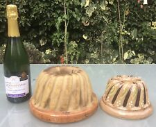 More details for two antique french clay cake moulds, brioche moulds, kugelhopf alsace - 1800s