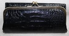 VINTAGE WOMEN'S BLACK PATENT FAUX LEATHER, TRI FOLD, LARGE WALLET - COOL!