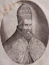 Portrait de GREGOIRE XIII. Gravure originale du 17 ème siècle.