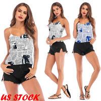 US Women Summer Vest Newspaper V Neck Sleeveless T Shirt Print Casual Tank Tops