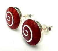 Paar Sterling Silber 925 Rote Koralle Spiral-ohr Stecker Brandneu