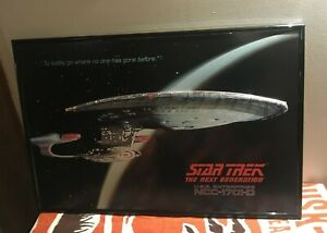 Vtg Star Trek Next Generation USS Enterprise Lighted Wall Poster Framed 1701-D