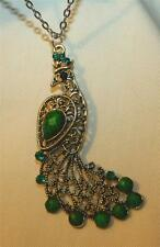 Lovely Filigree Swoop Feathers Green Accented Silvertone Peacock Necklace