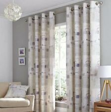 ELEGANT SCRIPTED TEXT EYELET MAUVE GREY BEIGE COTTON FULLY LINED CURTAINS 46x54""