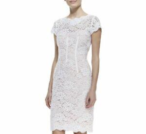NWT MONIQUE LHUILLIER designer couture lace dress white pink US 10 AU 14 12