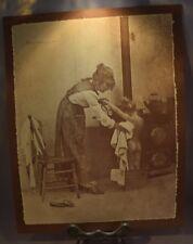 Vintage R. Hendrickson Sepia Print Adorable Mom Daughter Bath Time