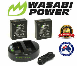 Wasabi Power Battery x 2 & Dual USB Charger for OLYMPUS BLH-1, OM-D E-M1 MARK II