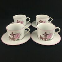 Lot of 4 VTG Cups and Saucers Block Spal Watercolors Western Rose Pink Portugal