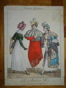 GRAVURE  COULEUR XVIII° CARICATURE COSTUME FEMME MODE COIFFE DIRECTOIRE 1795