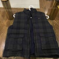 Vintage Tommy Hilfiger Dark Blue and Green Plaid Vest Women's Size Medium (8-10)