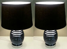 1 Pair Black Corrugated Shade Table / Bedside Lamps  height 45cm