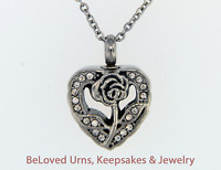 Rose On Heart Cremation Jewelry Keepsake Memorial Pendant Urn Necklace Flower